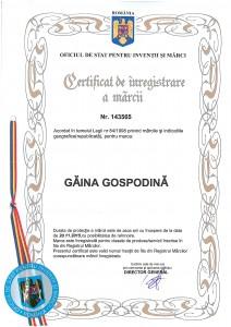 Certificat de inregistrare marca Gaina gospodina